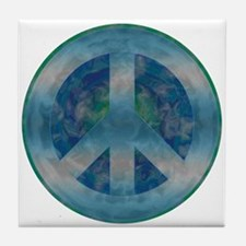 Peace Sign Blue 2 Tile Coaster