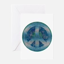 Peace Sign Blue 2 Greeting Cards (Pk of 10)