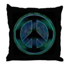 Peace Sign Noir Throw Pillow