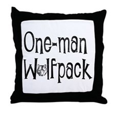 Cute One man wolf pack Throw Pillow