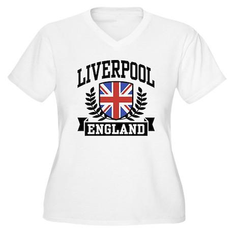 Liverpool England Women's Plus Size V-Neck T-Shirt