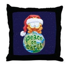 Peace On Earth Garfield Throw Pillow