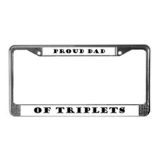 Proud Dad of Triplets License Plate Frame