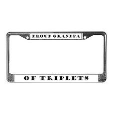 Proud Grandpa of Triplets License Plate Frame