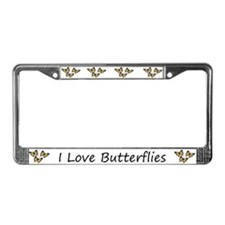 White I Love Butterflies License Plate Frames