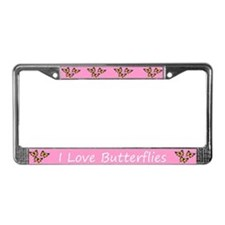 Pink I Love Butterflies License Plate Frame