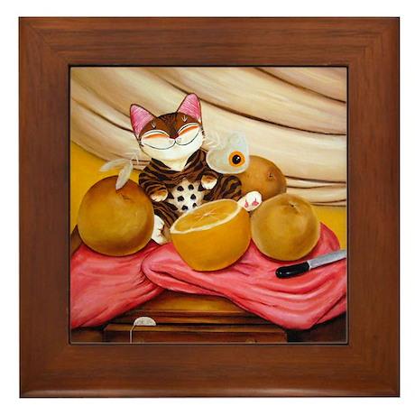 CAT ART ~ Still Life with Bot Framed Tile