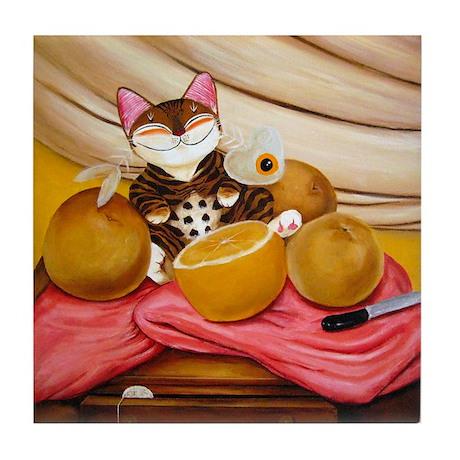 CAT ART ~ Still Life with Bot Tile Coaster