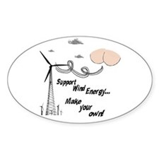 Funny Support Wind Energy Oval Decal