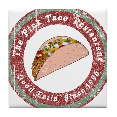 Funny Pink Taco Tile Coaster