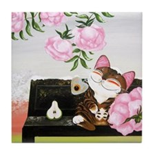 CAT ART ~ Seasons - Winter Ca Tile Coaster