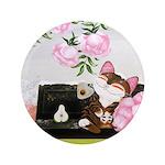 """CAT ART ~ Seasons - Winter Ca 3.5"""" Button"""