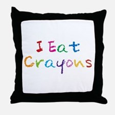 I Eat Crayons Throw Pillow