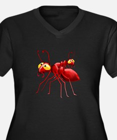 Two Red Ants Women's Plus Size V-Neck Dark T-Shirt