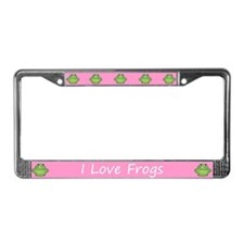 Pink I Love Frogs License Plate Frame