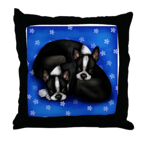 Boston Terrier Dogs Throw Pillow