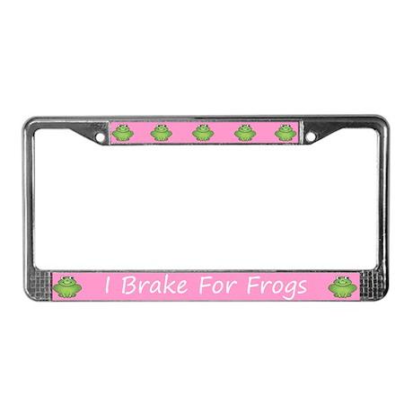 Pink I Brake For Frogs License Plate Frame
