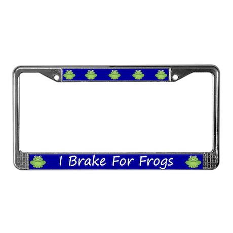 Blue I Brake For Frogs License Plate Frame