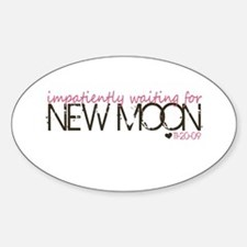 Impatiently - pink & brown Oval Decal
