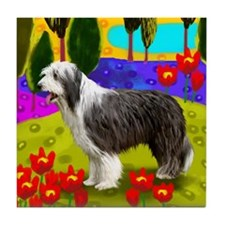 BEARDED COLLIE DOG LAKE Tile Coaster