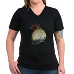 Mapuche Rooster Women's V-Neck Dark T-Shirt