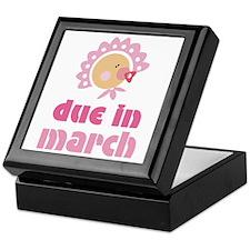 Pink Baby March Due Date Keepsake Box