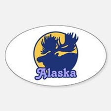 Alaska Moose Oval Decal