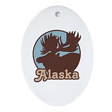 Alaska Moose Oval Ornament
