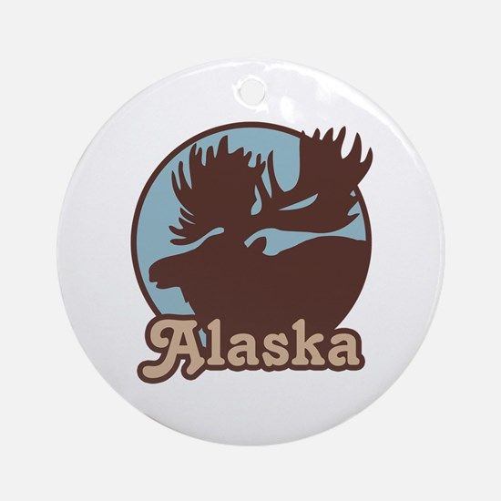 Alaska Moose Ornament (Round)