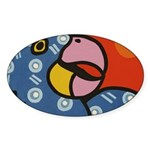 Tropical Parrot Sticker (Oval)