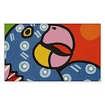 Tropical Parrot Sticker (Rectangle)