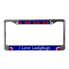 Blue I Love Ladybugs License Plate Frame