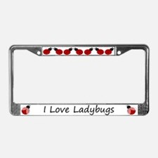 White I Love Ladybugs License Plate Frame