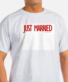 Just Married (Red) - Ash Grey T-Shirt