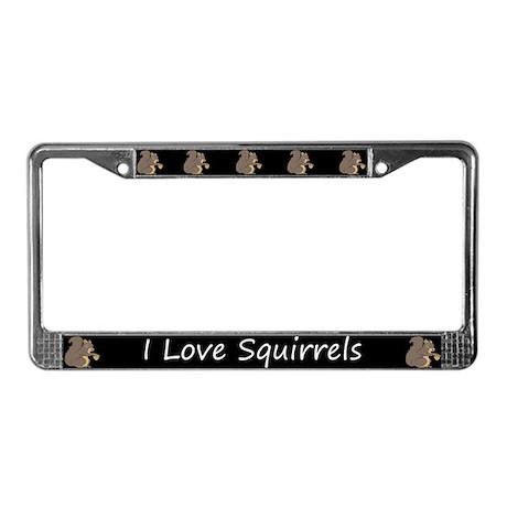 Black I Love Squirrels License Plate Frame