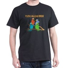 Four Calling Birds Black T-Shirt
