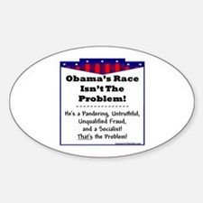 """""""It's Not Racial"""" Oval Decal"""