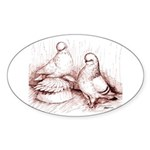 Tumbler Pigeons Oval Sticker