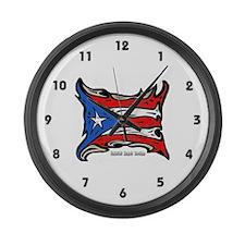Puerto Rico Heat Flag Large Wall Clock