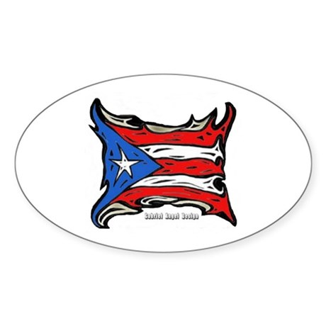 Puerto Rico Heat Flag Oval Sticker