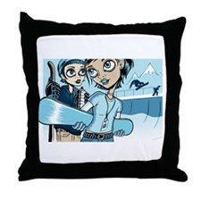 Two Snowborders Throw Pillow Throw Pillow