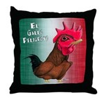 El Gallo Peligroso Throw Pillow