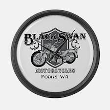 Black Swan Motorcycles Large Wall Clock