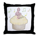 Cupcake Music Throw Pillow