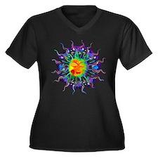 Chakra Sun Women's Plus Size V-Neck Dark T-Shirt