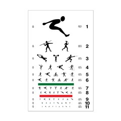 Eye chart with sports figures
