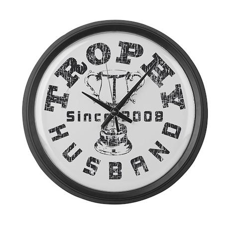 Trophy Husband Since 2008 Large Wall Clock
