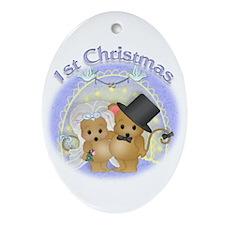 Couple's 1st Christmas Oval Ornament
