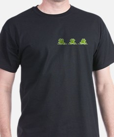 3 Frogs! Black T-Shirt