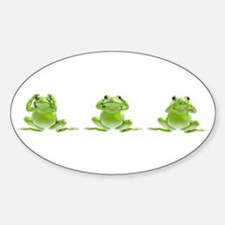 3 Frogs! Oval Stickers